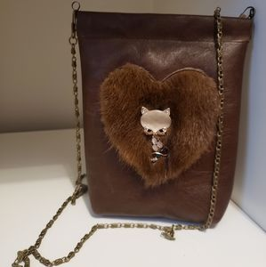 Brown Leather Heart Purse